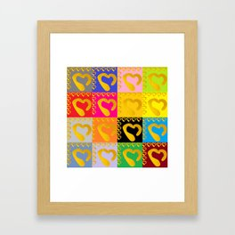 Gold Hearts on colorful Stamp Framed Art Print
