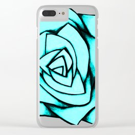 Turquoise Rose Clear iPhone Case