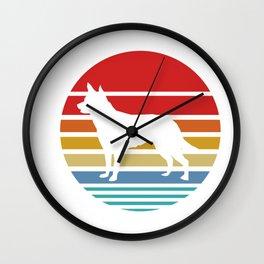 Retro Style T Shirt Silhouette Vintage Australian Kelpie Wall Clock