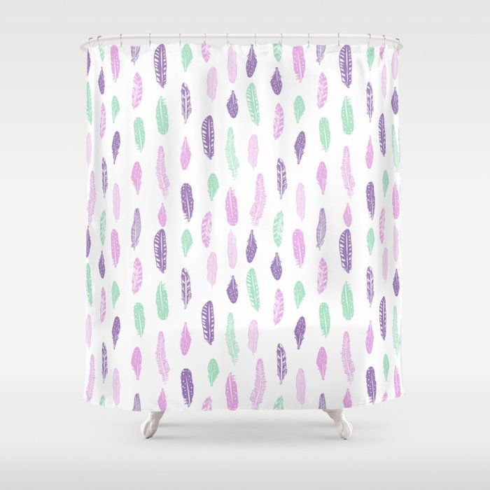 Feathers Pastel Lilac And Mint Pink Nursery Pattern Minimal Trendy Boho Hipster Shower Curtain