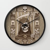 discworld Wall Clocks featuring COWER BRIEF MORTALS by Doodle Dojo