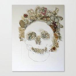 Rhinestone Skull Mixed Media Print Canvas Print