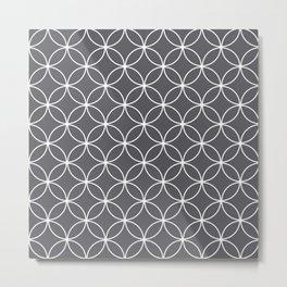 Circles Graphite Gray Metal Print