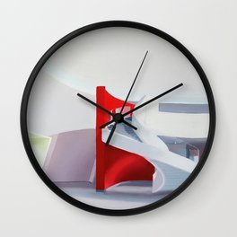 spiral on red Wall Clock