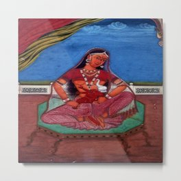 Deity Parvati With Her Son Ganesha Metal Print