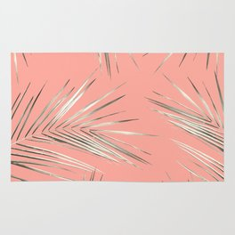 White Gold Palm Leaves on Coral Pink Rug