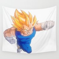 vegeta Wall Tapestries featuring Ascended Super Saiyan Vegeta by bmeow