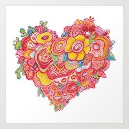 HEART FLOWER Art Print