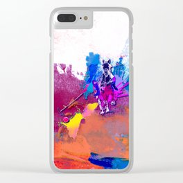 polo abstract red blue Clear iPhone Case