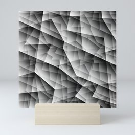Monochrome pattern of chaotic black and white glass fragments, irregular cubic figures and ice floes Mini Art Print