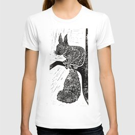 Red Squirrel Lino Print T-shirt