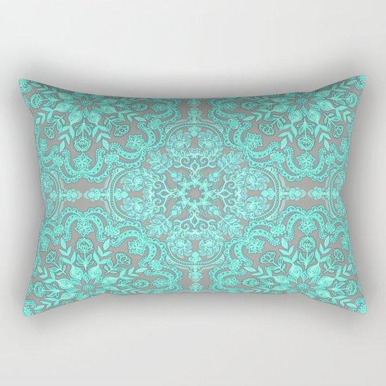 Mint Green & Grey Folk Art Pattern Rectangular Pillow