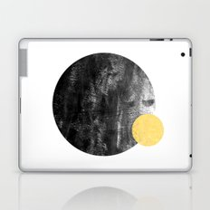 Ripley - abstract marble texture india ink painting minimal white and black with gold canvas art Laptop & iPad Skin