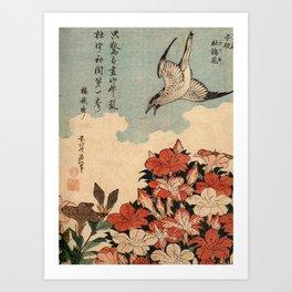 Hokusai Cuckoo and azaleas -hokusai,manga,japan,Katsushika,cuckoo,azaleas,Rhododendron Art Print