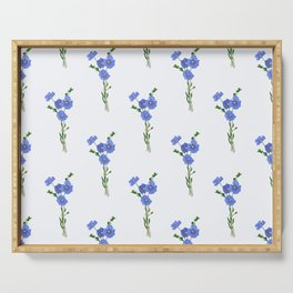 Hand drawn vector seamless pattern of flax plant with flowers Serving Tray