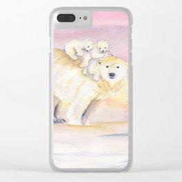 Polar Bear Family Clear iPhone Case