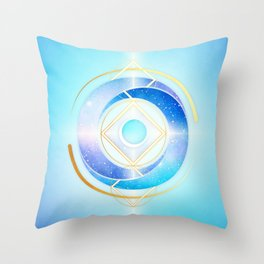 Icy Golden Winter Swirl :: Floating Geometry Throw Pillow