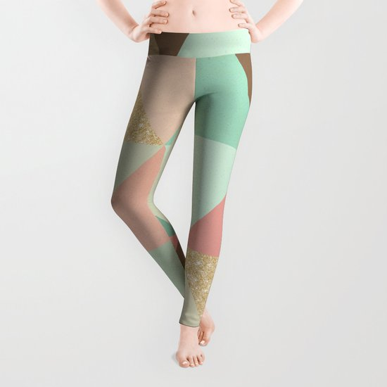 Peach, Mint and Gold Triangles Leggings