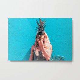Pineapple Head Metal Print