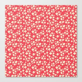 Sunkissed Coral Coconut Cream Flower Pattern Canvas Print