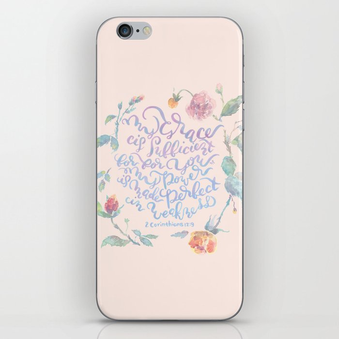 My Grace is Sufficient - 2 Corinthians 12:9 / rose pink iPhone Skin