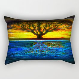 Duality Tree of Life Reflection Moon & Sun Day & Night Painting by CAP Rectangular Pillow