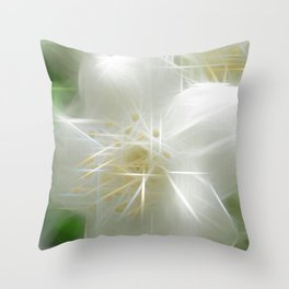 White Shiny Jasmine Throw Pillow