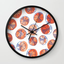 Red dots with blue wheels Wall Clock