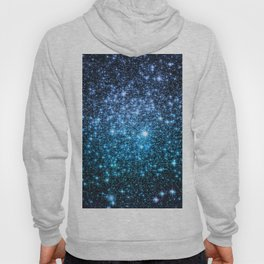 Galaxy Sparkle Stars Periwinkle Blue Turquoise Ombre Hoody