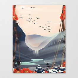 Cartoon landscape in the evening. Canvas Print