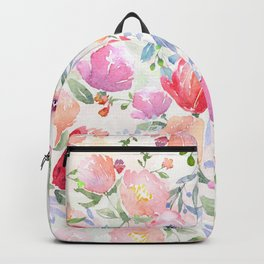 Watercolored pastel flowers in pink on white Backpack