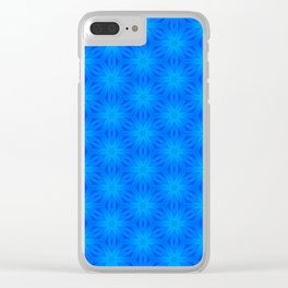 Bright blue on blue star pattern design Clear iPhone Case
