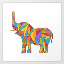 Big, bright, and colorful elephant - polychromatic animal Art Print