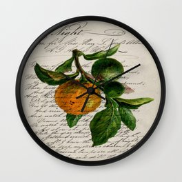 Shabby French botanical print tangerine clementine mandarin orange Wall Clock