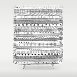 black and white doodle stripes Shower Curtain