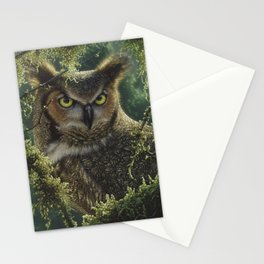 Great Horned Owl - Watching and Waiting Stationery Cards
