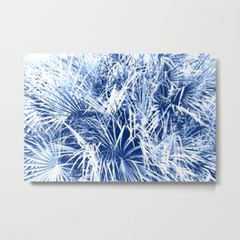 Palm Fronds Blue and White Duo Tone Abstract Metal Print