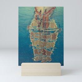 Reflection of boat sail oil painting Mini Art Print