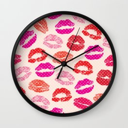 Lips print hand drawn illustration, lovely kisses pattern Wall Clock