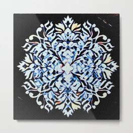 Graphic Diced Flower Blue Metal Print
