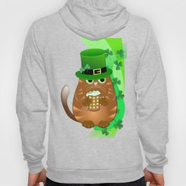 Sint Patrick's day cat with green top hat and drinking beer Hoody