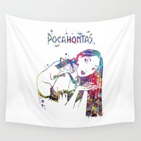 pocahontas Wall Tapestries featuring Pocahontas and Meeko by Bitter Moon