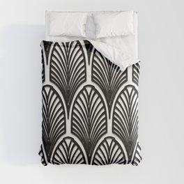 Art deco,Black and white pattern, vintage,nouveau,chic and elegant, belle époque,fan pattern Comforters