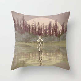 Tree spirit from the woods lake Throw Pillow