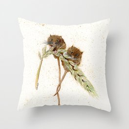 Two Mice - animal watercolor painting Throw Pillow