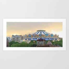 Carrousel at Sunset Art Print