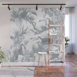 Toucans and Bromeliads - Sharkskin Grey Wall Mural