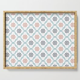 Red & Blue Mute Lattice Serving Tray