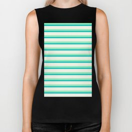 Seafoam Green & Cream Stripes Biker Tank