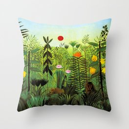 """Henri Rousseau """"Exotic Landscape with Lion and Lioness in Africa"""", 1903-1910 Throw Pillow"""